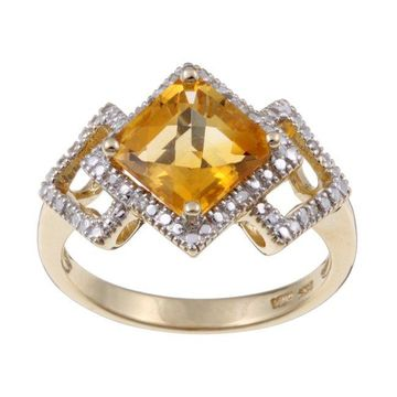 Sofia 14k Yellow Gold Citrine and Diamond Ring