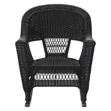 Jeco W00207R-D-2 Black Rocker Wicker Chairs, Set of 2