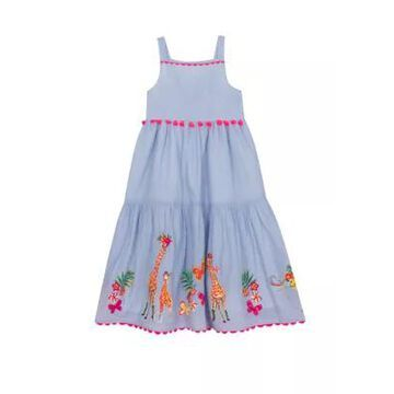 Rare Editions Girls' Girls 7-16 Blue Cotton Maxi Dress With Animal Border Sequins - -