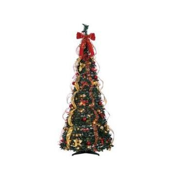Sterling 6-Foot High Pop Up Pre-Lit Green Decorated Pine Tree with Warm White Lights