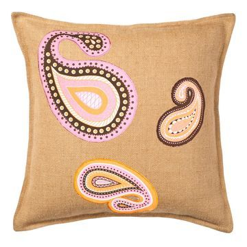 Greendale Home Fashions Paisley Burlap Throw Pillow