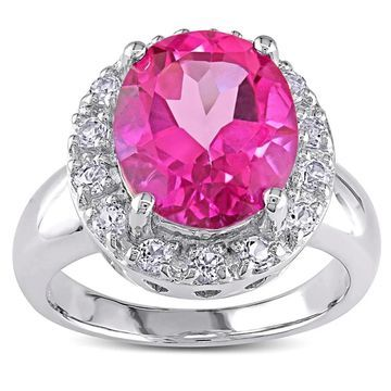 Miadora Pink Topaz Sterling Silver Ring
