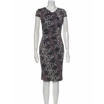 Animal Print Knee-Length Dress Grey