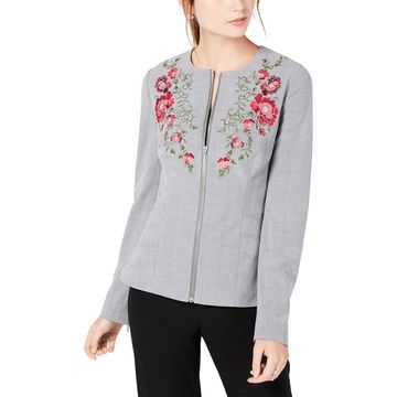 XOXO Womens Fall Embroidered Peplum Jacket