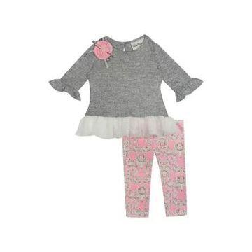Rare Editions Girls' Toddler Girls Ruffle Gray Top And Pink Leggings Set - -