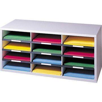 Fellowes Literature Organizer - 12 Compartment Sorter, Dove Gray, Dove Gray, 1 Each (Quantity)