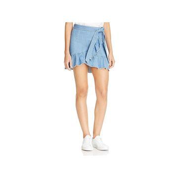 Paige Womens Denim Skirt Faux-Wrap Peplum