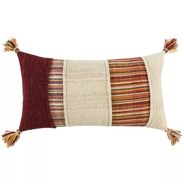 Rizzy Home Lark Down Fill Throw Pillow, Red, 14X26