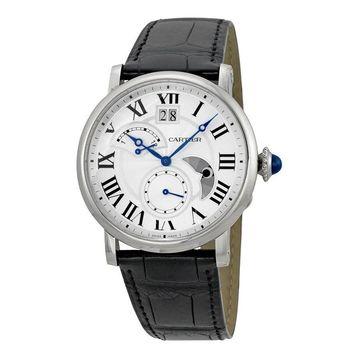 Cartier Men's W1556368 'Rotonde Retrograde' Automatic Black Leather Watch (Cartier Men's W1556368 Leather)