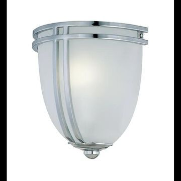 Lite Source LS-16097 Single Light Up Lighting Wall Sconce with Frost Glass Shade from the Finnegan Collection Chrome Indoor Lighting Wall Sconces Wall