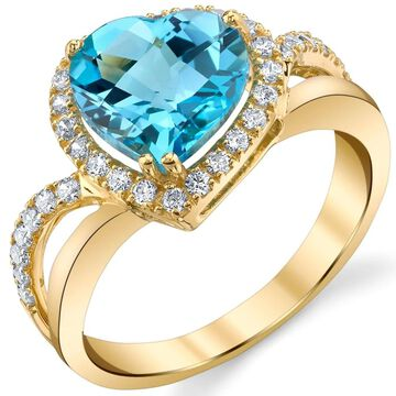 Oravo 14k Yellow Gold 3 ct Genuine Swiss Blue Topaz Leaning Heart-Shaped Ring