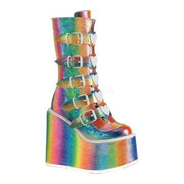 Demonia Women's Swing 230 Platform Mid-Calf Boot Rainbow Iridescent Vegan Leather