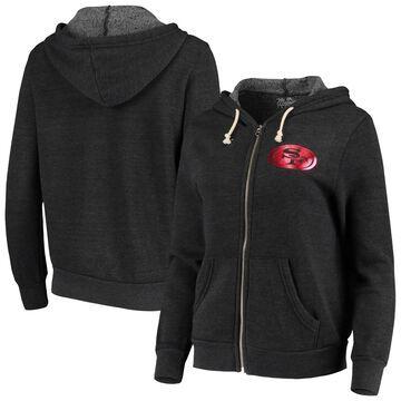Majestic Threads San Francisco 49ers Women's Heathered Black Foil Tri-Blend Full-Zip Hoodie
