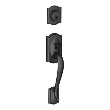 Schlage F58-CAM Camelot Single Cylinder Exterior Entrance Handleset from the F-Series Matte Black Handleset Keyed Entry Single Cylinder