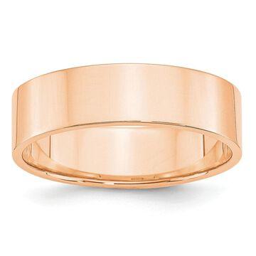 10K Rose Gold 6mm Polished Lightweight Flat Band Size 10 by Versil