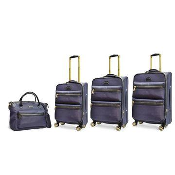 Adrienne Vittadini 4-piece Denim Blue Two-Tone Nylon Eight-Wheel Spinner Luggage Set - 4 piece set