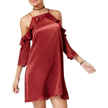 Be Bop Womens Sateen Cold Shoulder Mini Dress