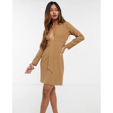 Vesper v-neck tie front mini dress in camel-Brown