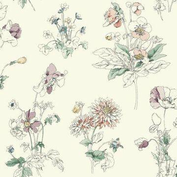 Waverly Meadow in Bloom Wallpaper - Jewel