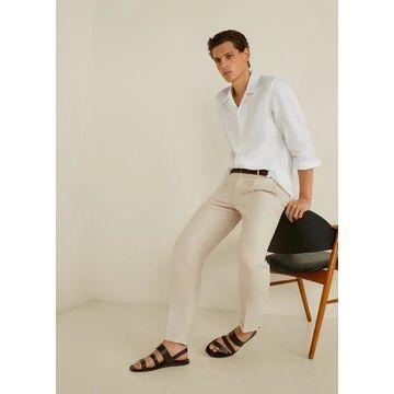 MANGO MAN - 100% linen slim fit shirt white - S - Men