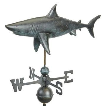Shark Weathervane - Pure Copper Hand Finished Grey Patina by Good Directions (Grey - Weather Vane - Copper - Assembly Required)