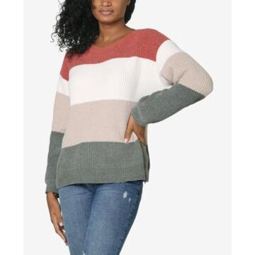 No Comment Juniors' Colorblocked Chenille Sweater