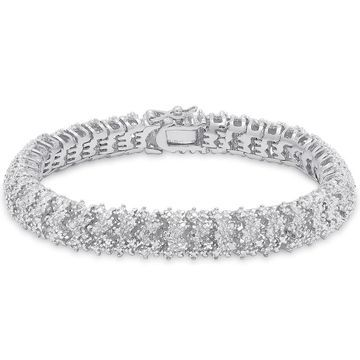 Finesque Sterling Silver 1ct TDW Diamond Cluster Bracelet (OSB653)