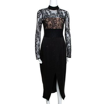 Self Portrait Black Bead and Sequin Embellished Lace Midi Dress S