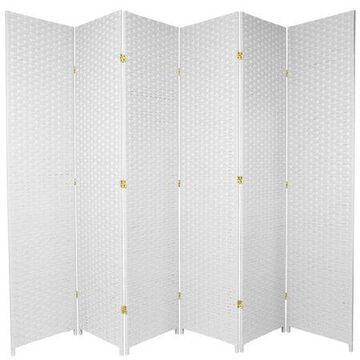 Oriental Furniture 7 Ft Tall Woven Fiber Room Divider, white, 6 panel