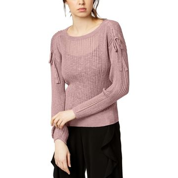 Bar III Womens Drawstring Ribbed Sweater