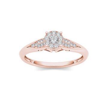 Imperial 1/6Ct TDW Diamond 10K Rose Gold Cluster Ring Engagement Ring