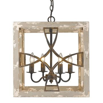 Golden Lighting Morgan Grey/Black Iron/Wood 4-light Pendant