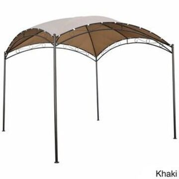 International Caravan St. Kitts 10-foot Steel/ Polyester Fabric Square Dome-top Gazebo (Khaki)