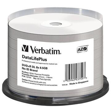 Verbatim DVD+R DL 8.5GB 8X DataLifePlus White Thermal Printable, Hub Printable - 50pk Spindle - 120mm - Printable - Thermal Printable