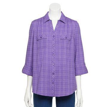 Women's Croft & Barrow Plaid Popover Shirt