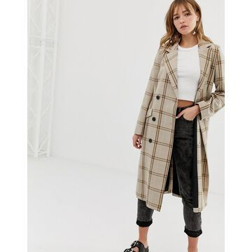 Monki check tailored lightweight coat in beige-Brown