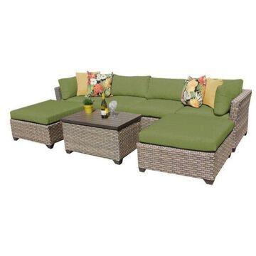 TK Classics Monterey 7-Piece Outdoor Wicker Sofa Set, Cilantro