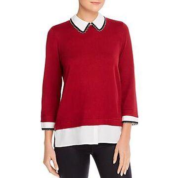 Karl Lagerfeld Paris Faux Shirt Underlay Sweater