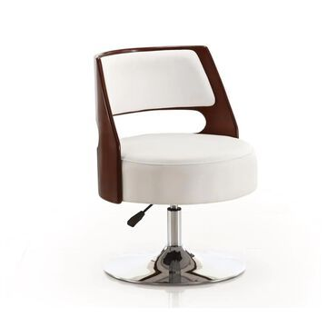 Manhattan Comfort Salon Adjustable Height Swivel Accent Chair in White and Polished Chrome Leather | AC034-WH