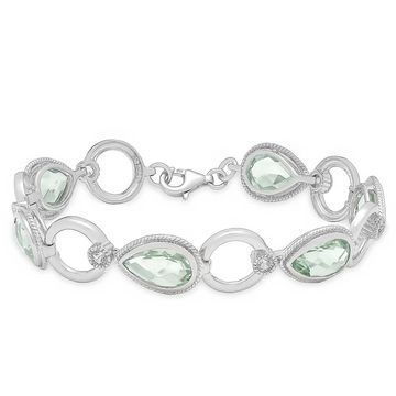 Dolce Giavonna Sterling Silver Green Amethyst and White Topaz Bracelet