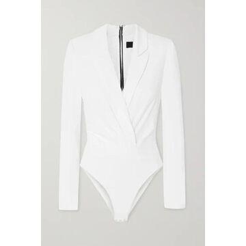 RtA - Maryse Silk-twill And Stretch-tulle Bodysuit - White