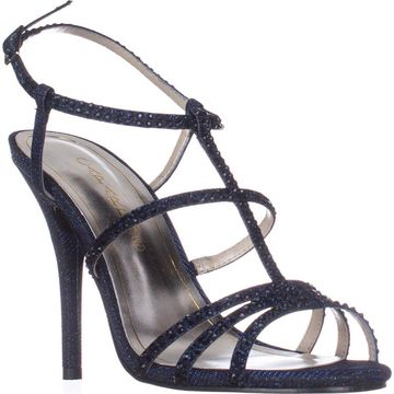 Caparros Womens Groovy Open Toe Casual Strappy Sandals, Navy Glimmer, Size 8.5