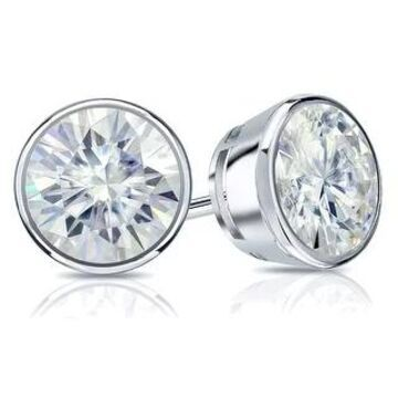 Auriya 18k Gold 1 1/2ctw Bezel-set Round Moissanite Stud Earrings - 5.9 mm, Screw-Backs (White)