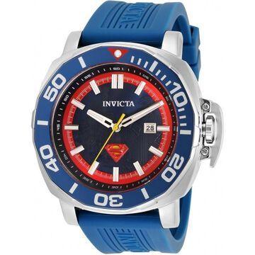 Invicta Men's 35078 'DC Comics' Superman Blue Silicone Watch - Black
