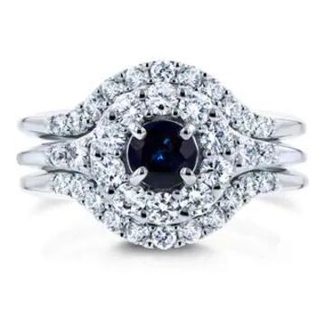 Annello by Kobelli 14k White Gold 1 1/4ct TCW Sapphire and Diamond 3 Piece Bridal Rings Set (9)