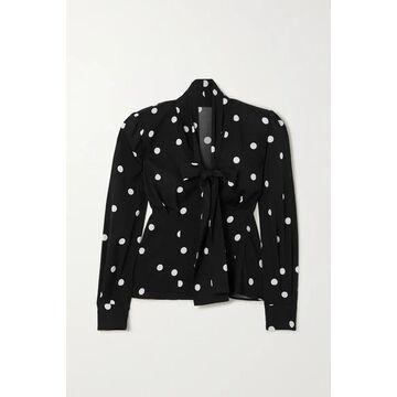 Dolce & Gabbana - Pussy-bow Polka-dot Silk-blend Blouse - Black