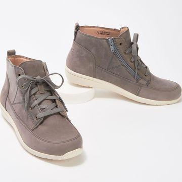 Vionic Nubuck Side-Zip High-Top Sneakers - Shawna