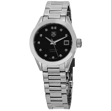Tag Heuer Women's 'Carrera' Black Diamond Dial Stainless Steel Automatic Watch