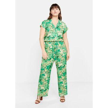 Violeta BY MANGO - Tropical print pants green - XL - Plus sizes