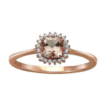 10k Rose Gold Morganite and 1/12ct Diamond Halo Ring bt Beverly Hills Charm - Pink (Purple - 6)